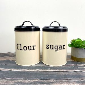 Vintage Flour And Sugar Metal Canisters